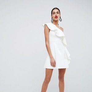 ASOS DESIGN one shoulder ruffle a-line mini dress